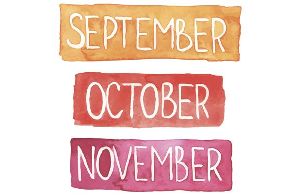 Calendario fiscal de septiembre a noviembre